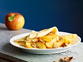 Crepe with caramelised apples and walnuts