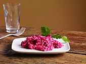 Risotto with red beets