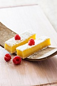 Lemon bars with powdered sugar and raspberries