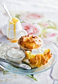Polenta muffins with ricotta, feta and yogurt
