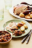 Roast chicken with roast potatoes and pear & ginger chutney