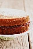 Sponge cake with plum jam