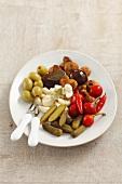 Eingelegtes Gemüse: Gurken, Champignons, Paprika, Knoblauch, Oliven