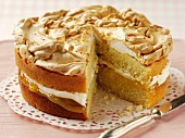 Lemon cake topped with meringue
