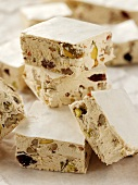 White nougat with nuts and dried fruit