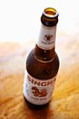 An open beer bottle