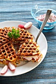Potato waffles with herbs and radish quark