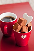 Chocolate truffles and coffee for Valentine's Day