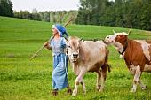 Bäuerin mit Kühen auf dem Bauernhof