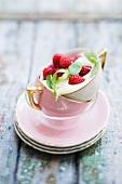 Zabaione with raspberries