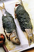 Trout wrapped in vine leaves