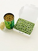 A tin of peas and frozen peas