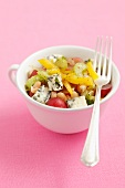Bean salad with celery, peppers, grapes and blue cheese