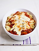 Cannelloni with fish, mozzarella and tomatoes