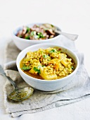 Root vegetable curry with barley and Thai basil