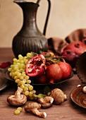 Assorted Fruit and Vegetables on a Rustic Table