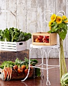 Organic Vegetables with Sunflowers