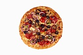 Whole Loaded Pizza on a White Background; From Above