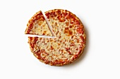Plain Cheese Pizza with a Slice Removed; On a White Background From Above