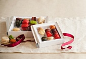 Boxes of Assorted Macaroons with Ribbon