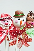 Father Xmas, Snowman and reindeer Christmas cake pops on sticks