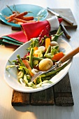 Green beans with potatoes and carrots