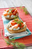 Sesame bagel with cream cheese and smoked salmon