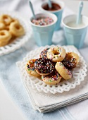 Glazed mini doughnuts with sugar strands