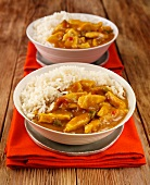 Chicken curry with rice (India)