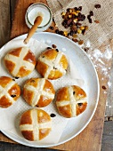 Hot cross buns (fruit buns for Good Friday, UK)