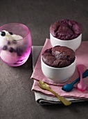 Blueberry and chocolate soufflés