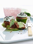 Chocolate and peppermint cupcakes