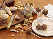 Peanut and ginger cake pops with sugar confetti