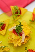 Tortilla chips with salsa piquante