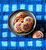 Coconut and butter biscuits with sugar glaze and colourful sugar sprinkles