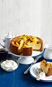 Cheesecake with orange and passion fruit