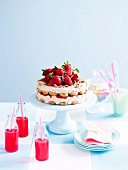 Marsala and chocolate layer cake with strawberries