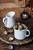 Quail's eggs in a mug