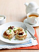 Mini pancakes with bacon and chive