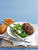 Lamb patties with bean and feta salad