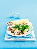 Wraps with egg, capers and ham