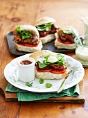Chicken burgers with baby spinach and Greek yoghurt