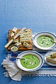 Cold cucumber and dill soup, served with cucumber sandwiches
