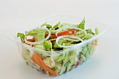 Garden Salad in a Plastic Tao-Go Container; White Background