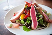 Seared Tuna Salad on a White Plate