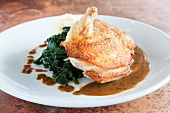 Roasted Chicken with Wilted Spinach and Gravy