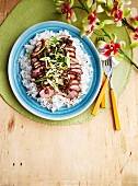 Duck breast with coriander and garlic on a bed of rice (view from above)