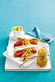 Hot dogs with preserved sweetcorn