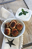 Meatballs with mint sauce