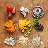 Assorted ingredients on a wooden board